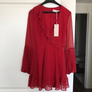 Keepsake The Label Red Bell Sleeve Dress NWT